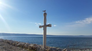 Memorial Sword of King Arthur, with Seagull as the Castodian and Keeper of the true tradition of King Arthur,Podstrana, Croatia. Photo with permission taken from Pointers, the free personal travel guide and website for promotion of tourism ... https://pointerstravel.com/poi/1516 ...