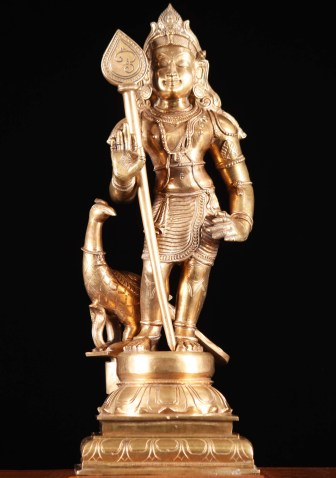 An imagination of the artist. God Skanda (Public Domain). The photo is taken from … https://www.lotussculpture.com/Bronze-Murugan-Carving.html