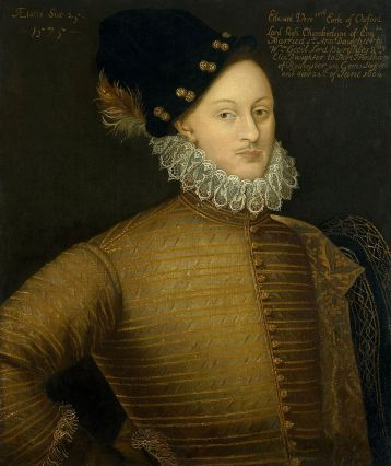 Earl Edward de Vere when he was around 22 years of age. The photo by Wikimedia Commons … https://commons.wikimedia.org/wiki/File:Edward-de-Vere-1575.jpg