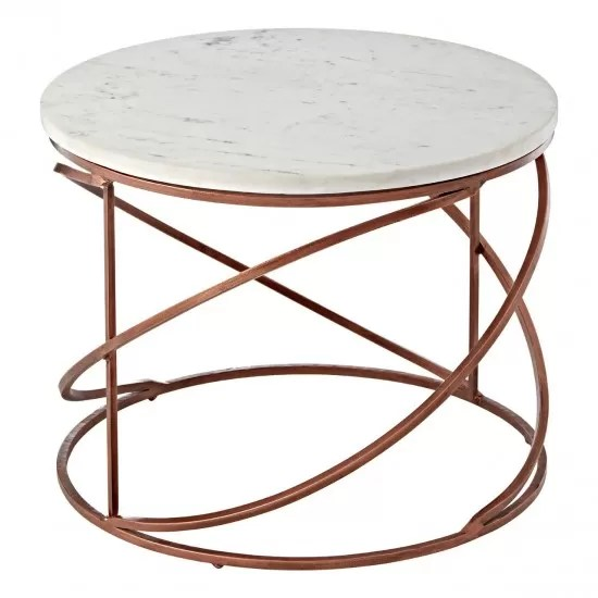 marene copper round marble top coffee table