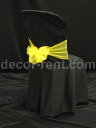 where to buy chair covers in toronto chairs and ottoman sets bistro cover rentals rent black with yellow mesh sash