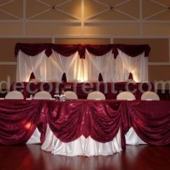 Gold Chair Covers To Rent Steel For Study Decor-rent.com - White And Burgundy Custom Backdrop Head Table.