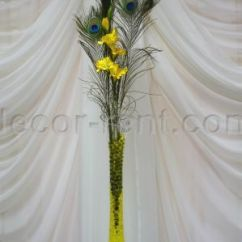 Chair Covers For Sale Ontario Red Walmart Decor-rent.com - # A1. Yellow Gladiolus And Peacock Feathers Centerpiece. Toronto