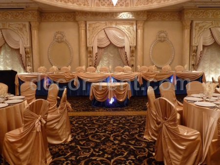 chair covers for rent toronto circle swivel cover decor-rent.com - royal blue and gold. head table draping.