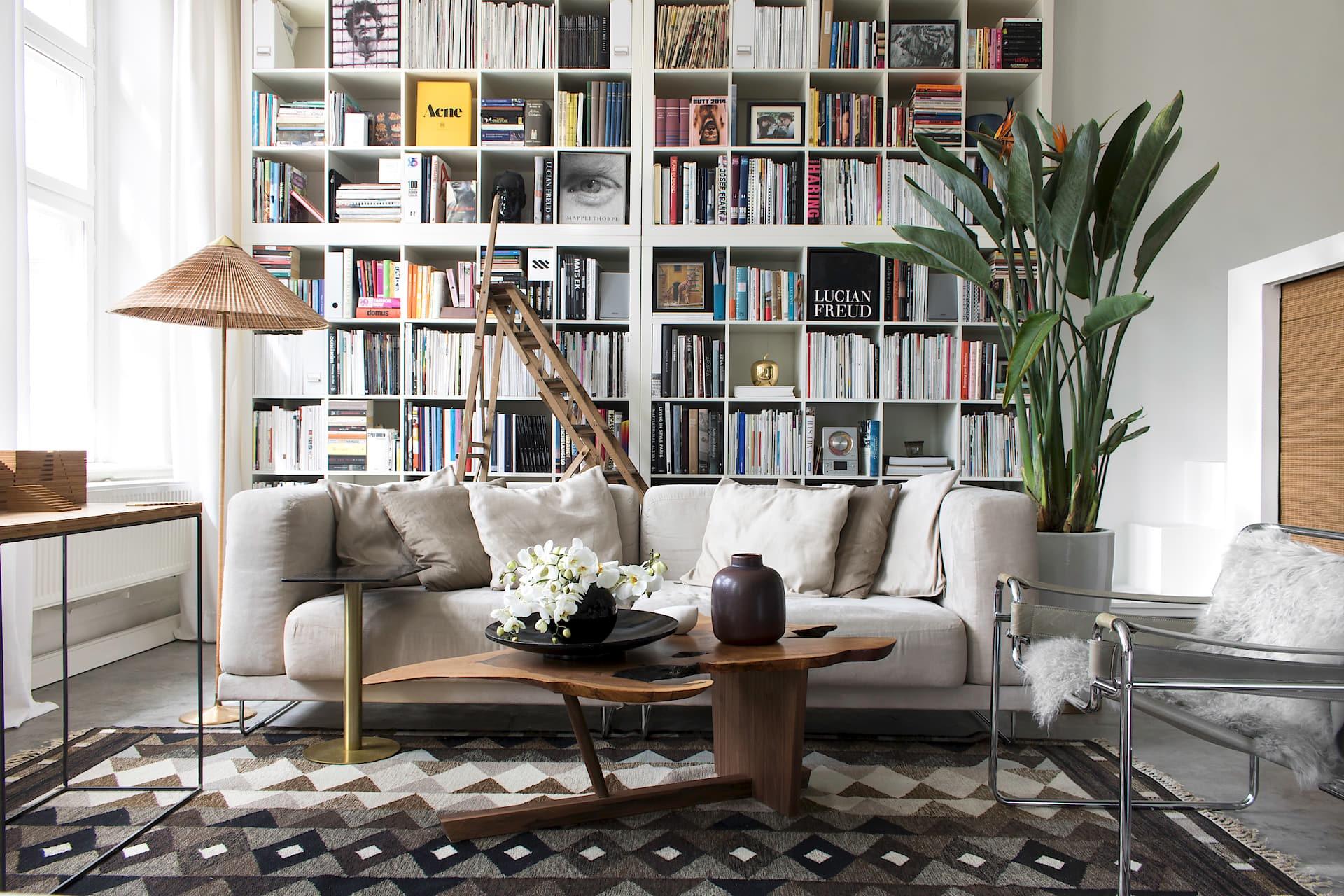 гостиная книжный шкаф диван