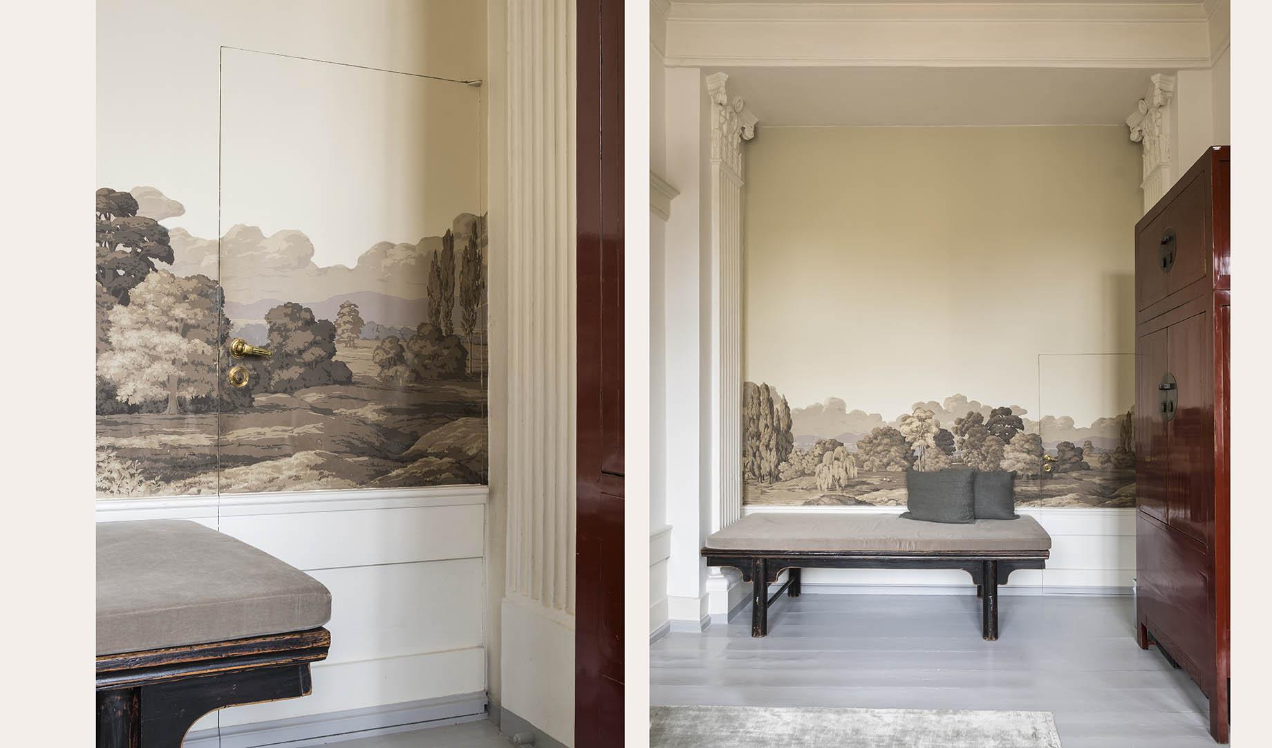 фреска банкетка колонны капитель стена дверь