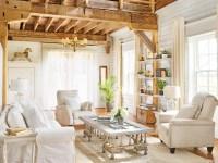 гостиная потолок балки дерево диван кресло столик