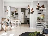 гостиная кухня обеденный стол стулья холодильник вытяжка