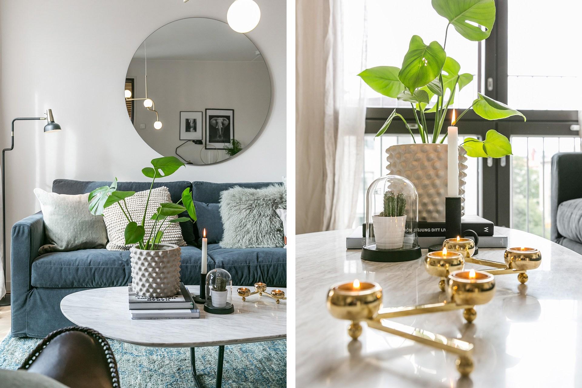 гостиная диван зеркало столик