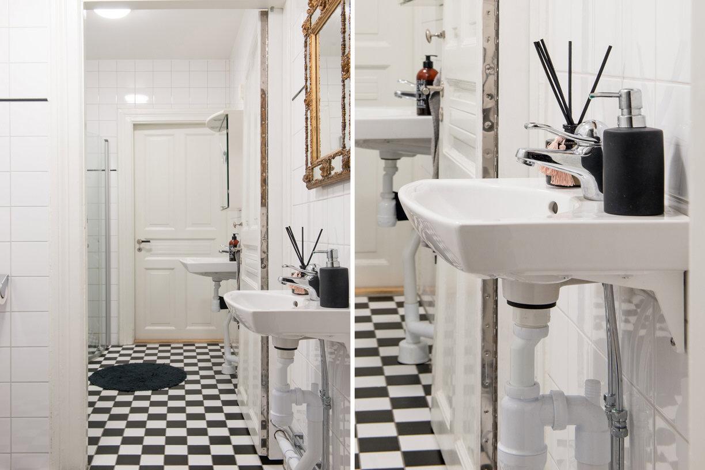 ванная комната раковина смеситель зеркало пол плитка черно-белый