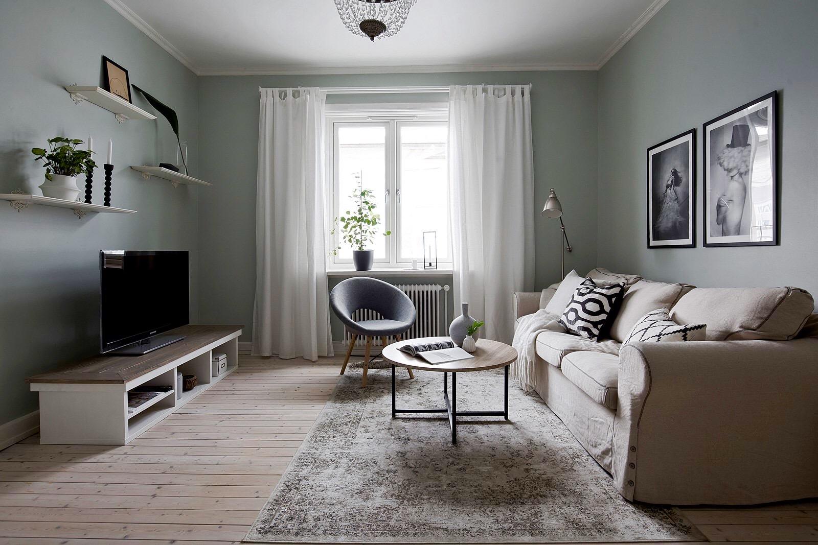 гостиная диван кресло столик ковер телевизор окно