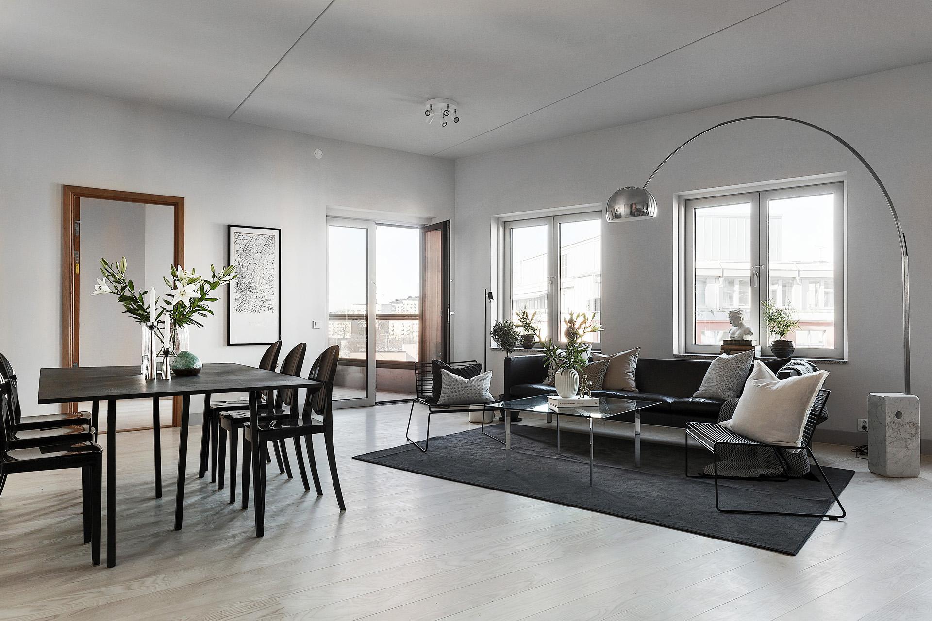 гостиная диван обеденный стол