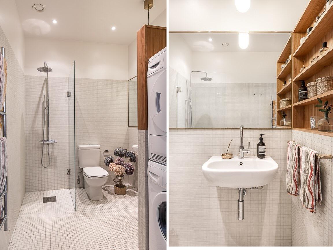 душевая раковина душ мозаика зеркало стиральная сушильная машина