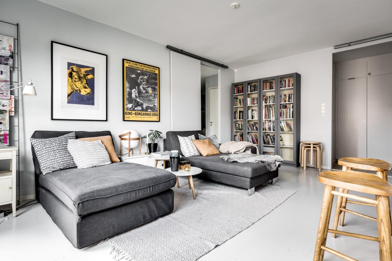 гостиная диван кушетка книжный шкаф