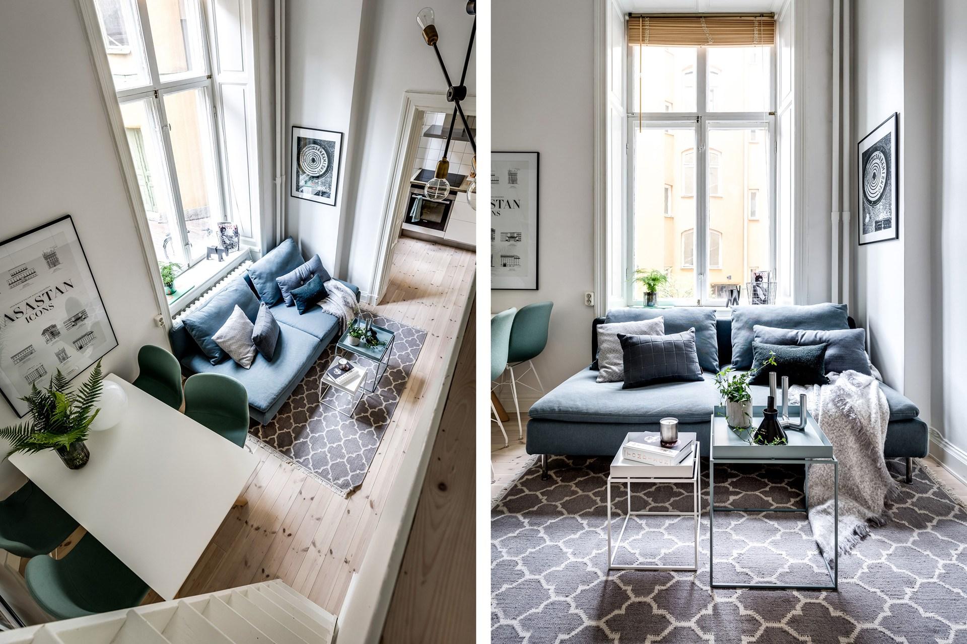 гостиная диван окно лестница