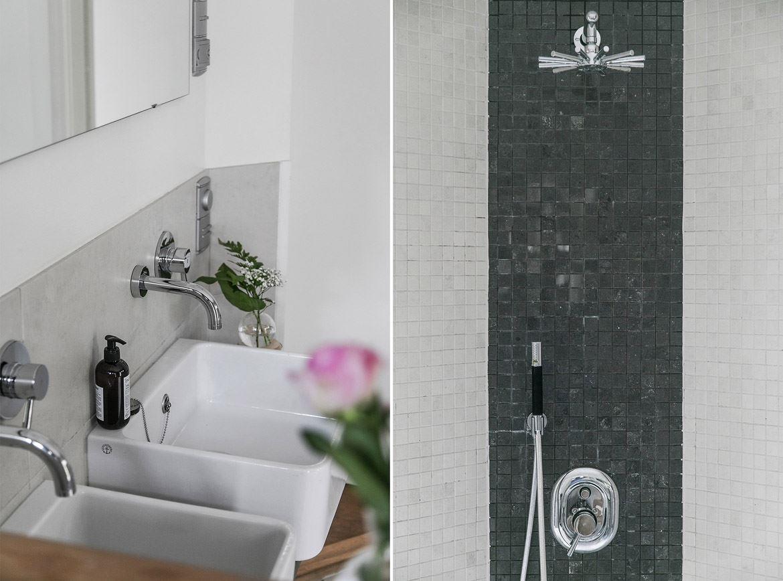ванная комната душ раковина кран зеркало мозаика