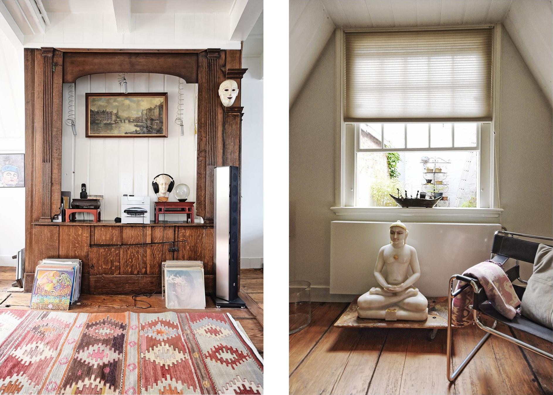 гостиная деревянный пол килим аудиосистема
