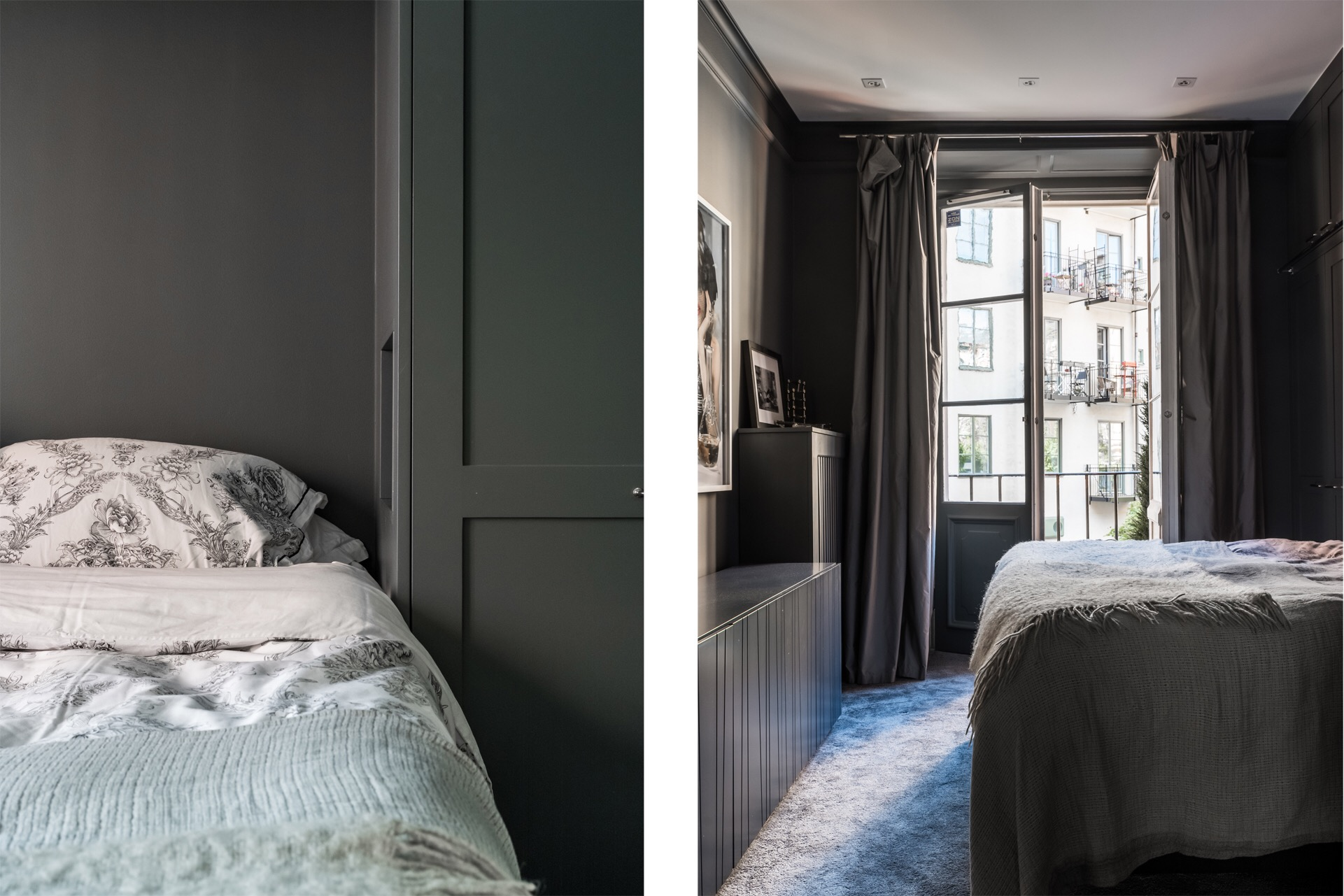 спальня кровать изголовье шкаф комод двери балкон