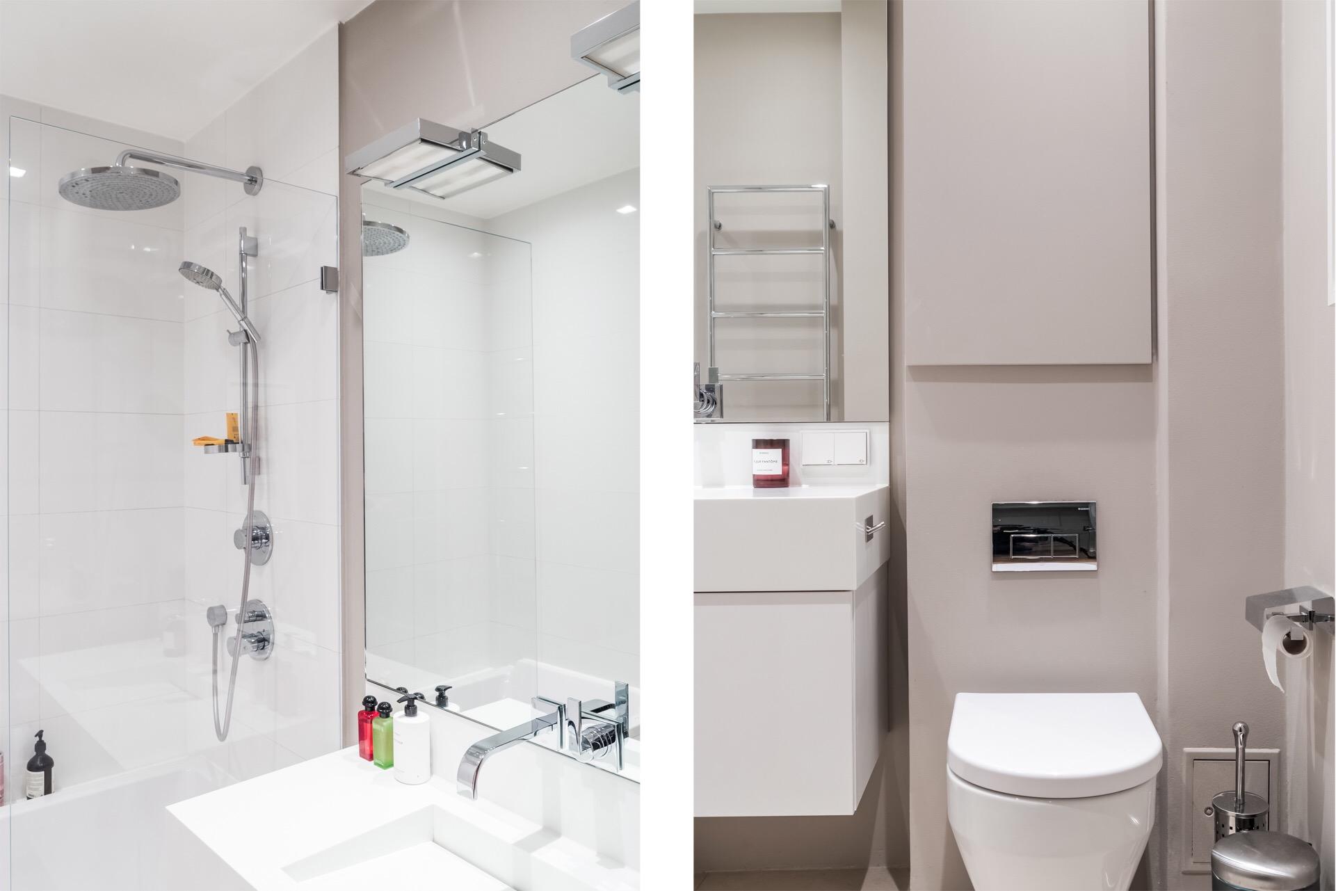 санузел раковина зеркало душ подвесной унитаз