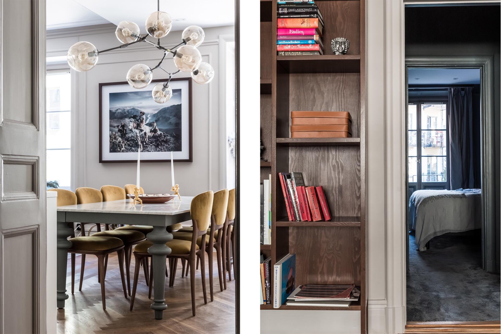 столовая обеденный стол стулья лампа bubble книжный шкаф наличники