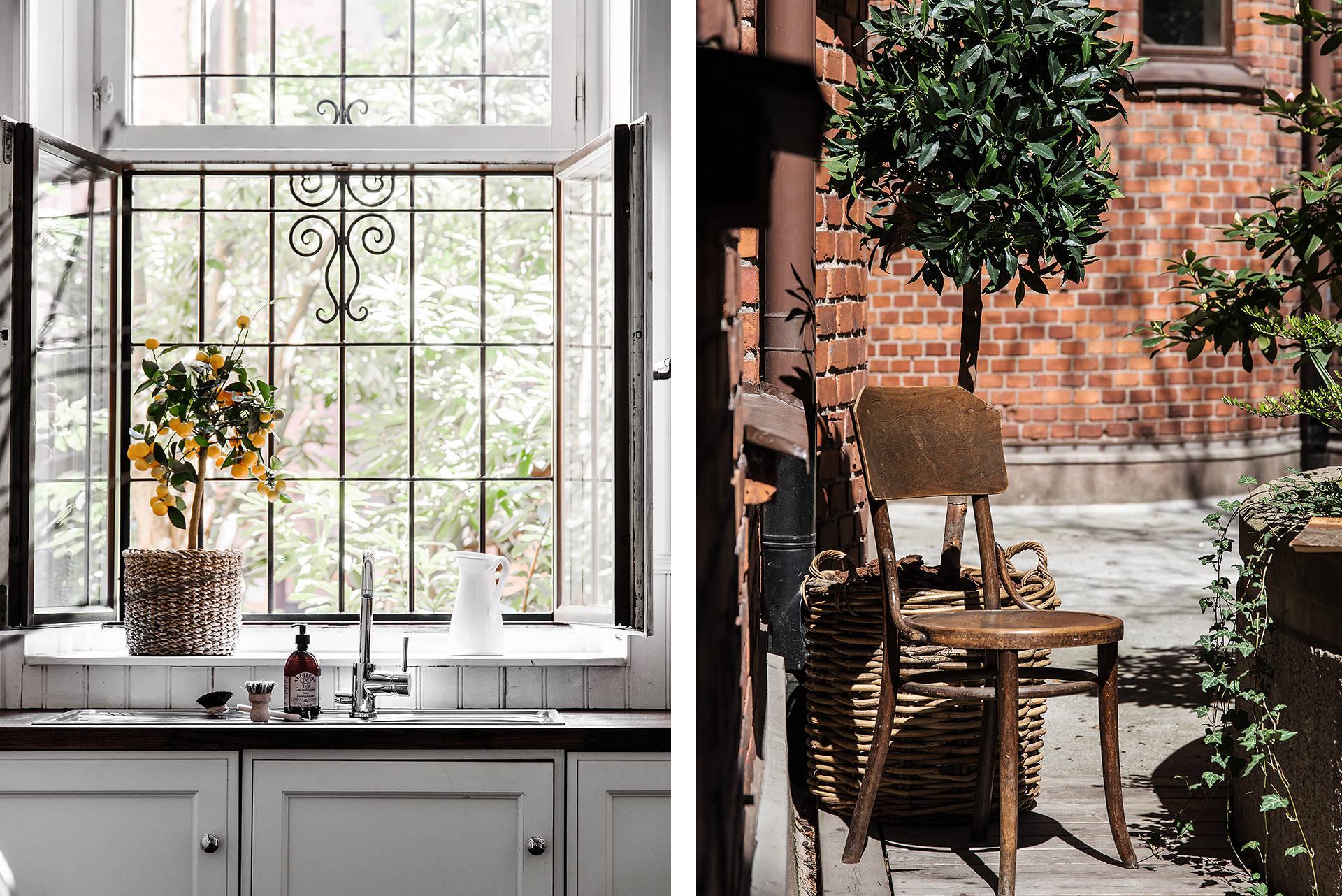 окно кухня столешница дворик под окном