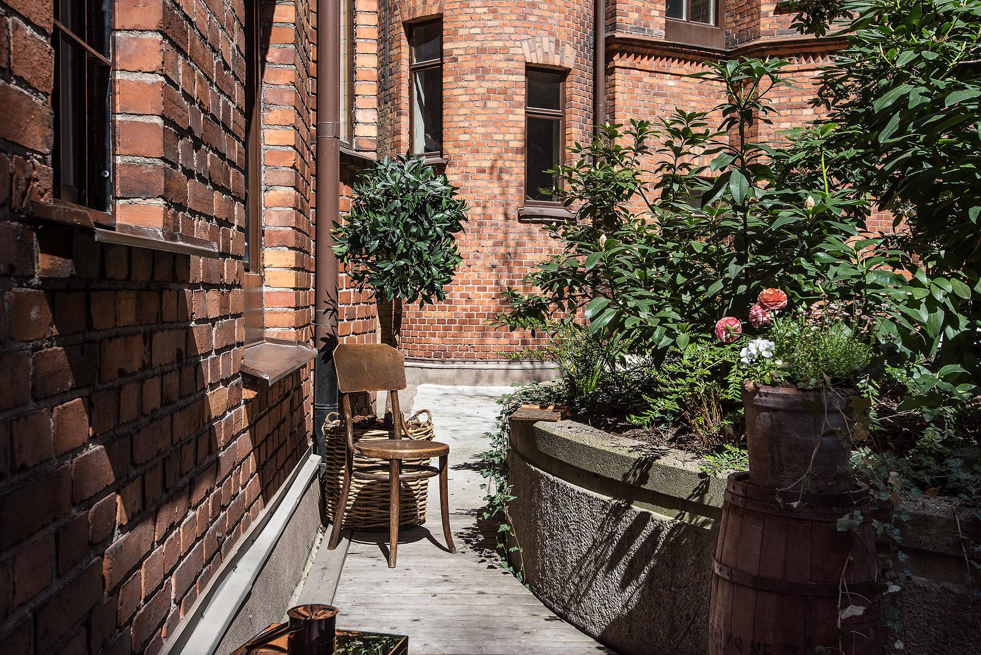 внутренний дворик цветник