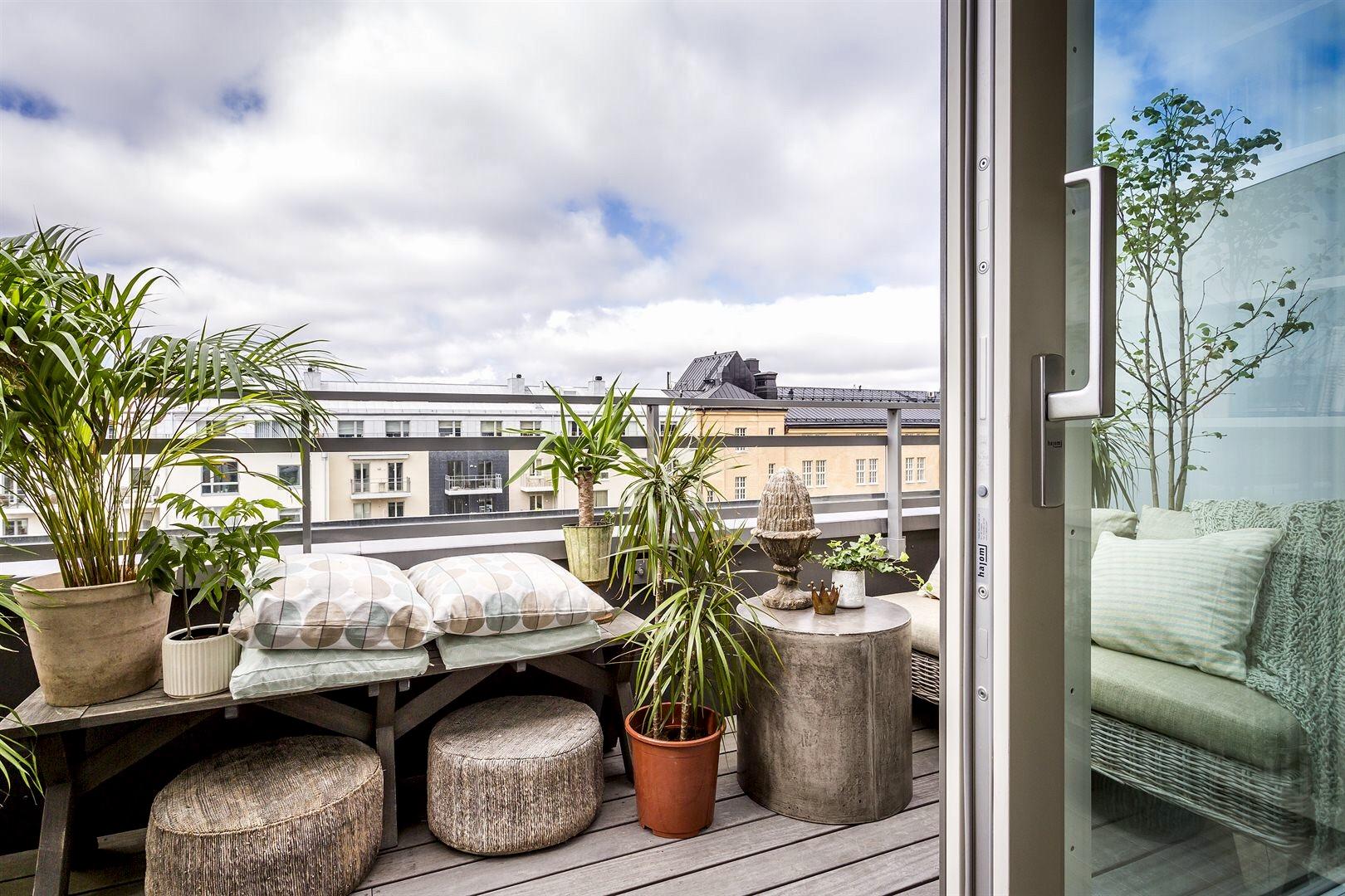 балкон комнатные растения деревянный настил