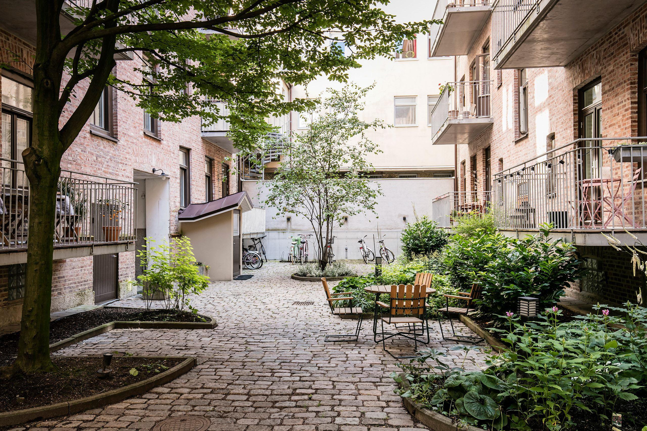 городской двор клумбы кустарники цветы уличная мебель