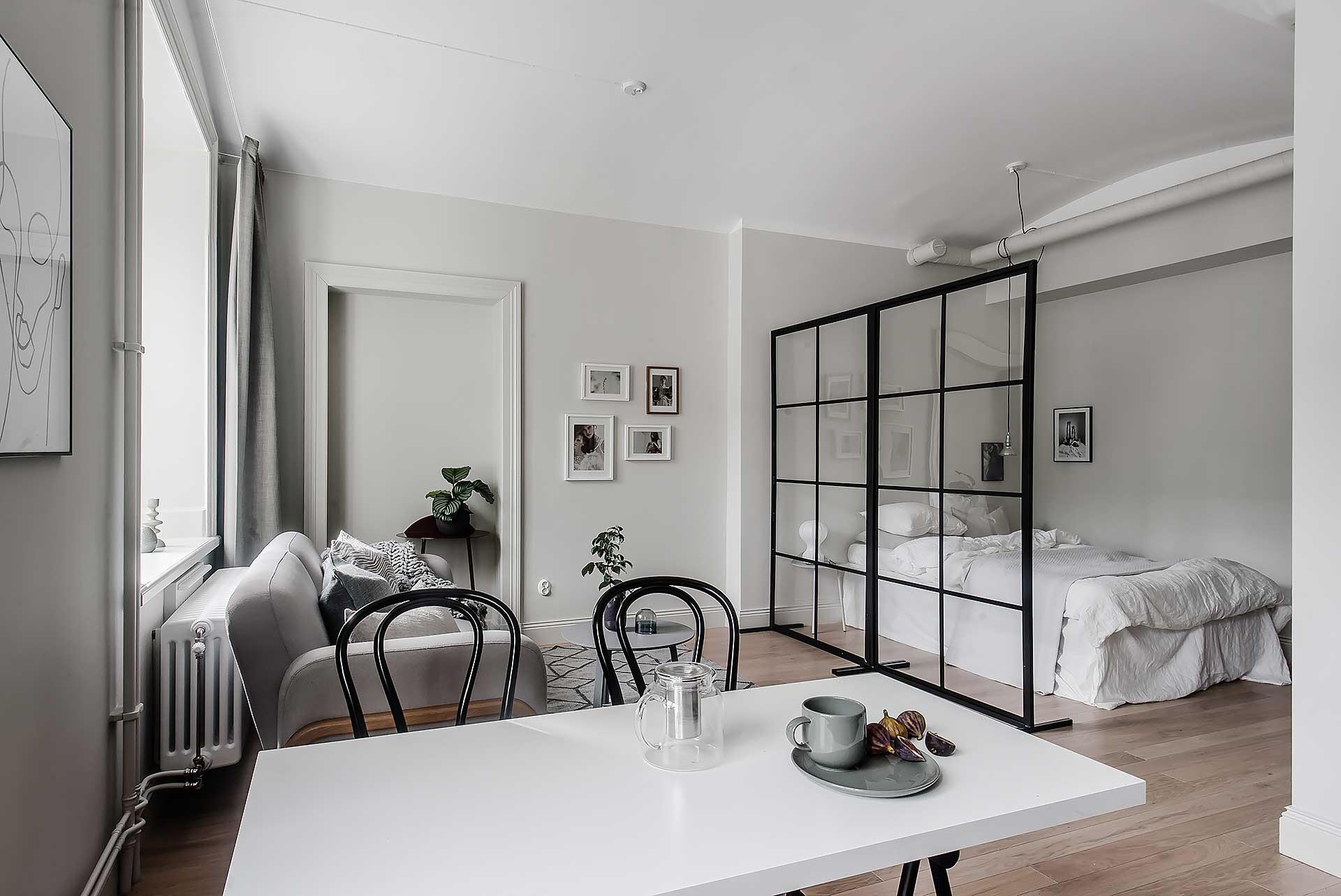 гостиная спальня перегородка стол диван кровать