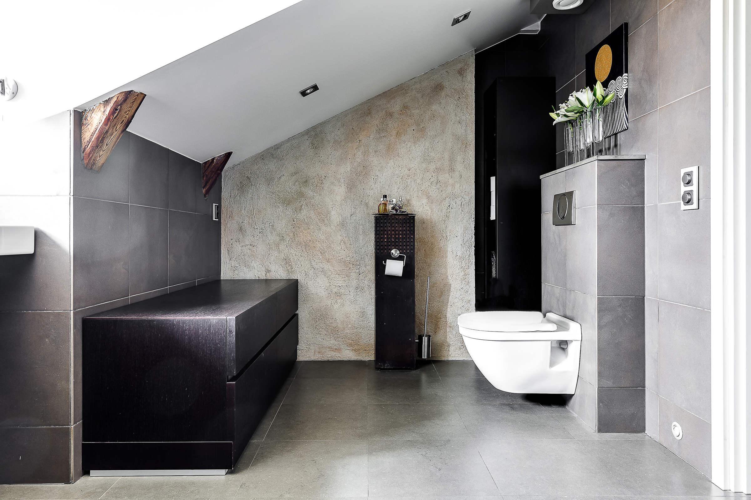 мансарда ванная комната подвесной унитаз