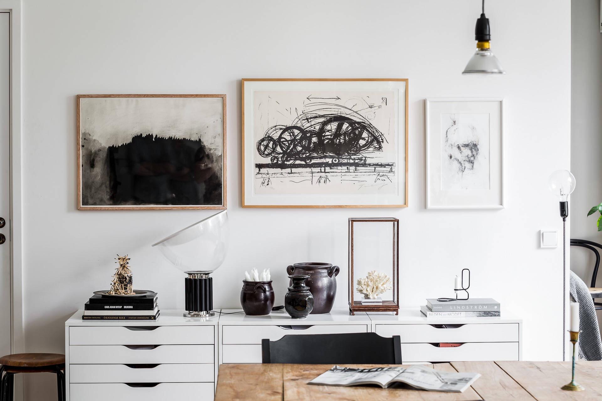 белый комод ящики стены картины рамы детали декор