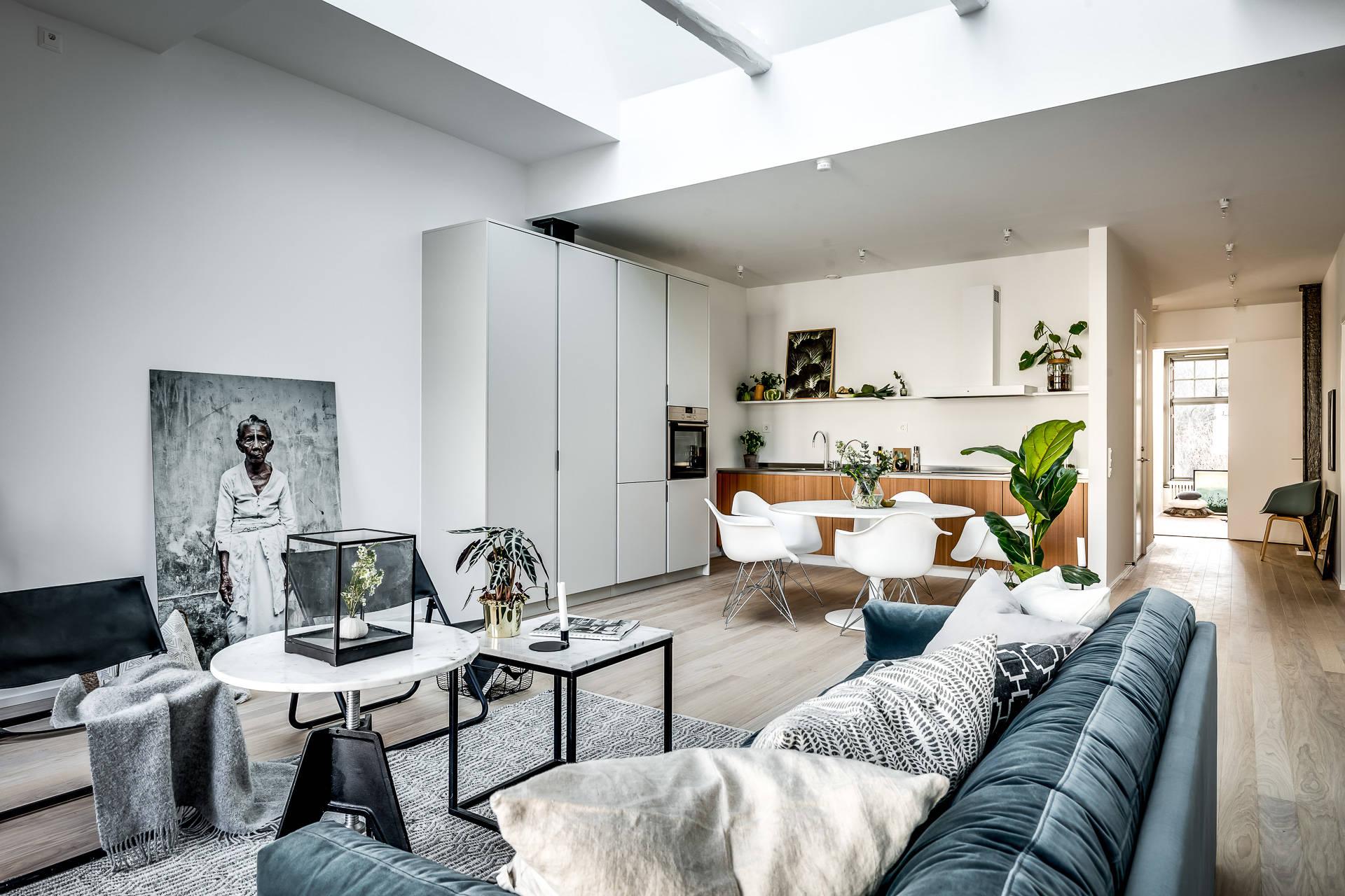 гостиная кухня диван журнальный столик ковер кресло обеденный стол половая доска высокий потолок