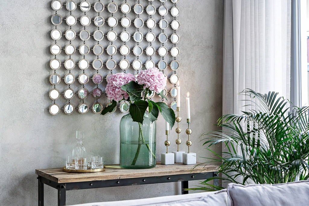 декоративное настенное зеркальное панно консоль ваза бутыль подсвечники