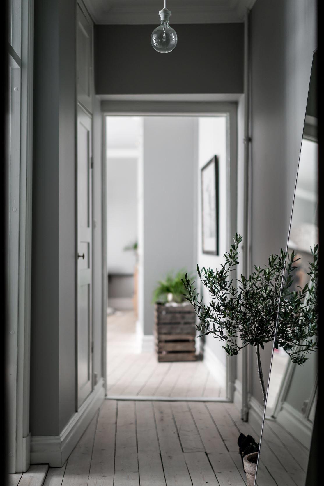 коридор двери серые стены деревянный пол напольное зеркало