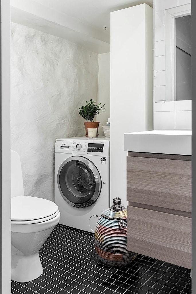 санузел раковина комод ниша стиральная машина корзина