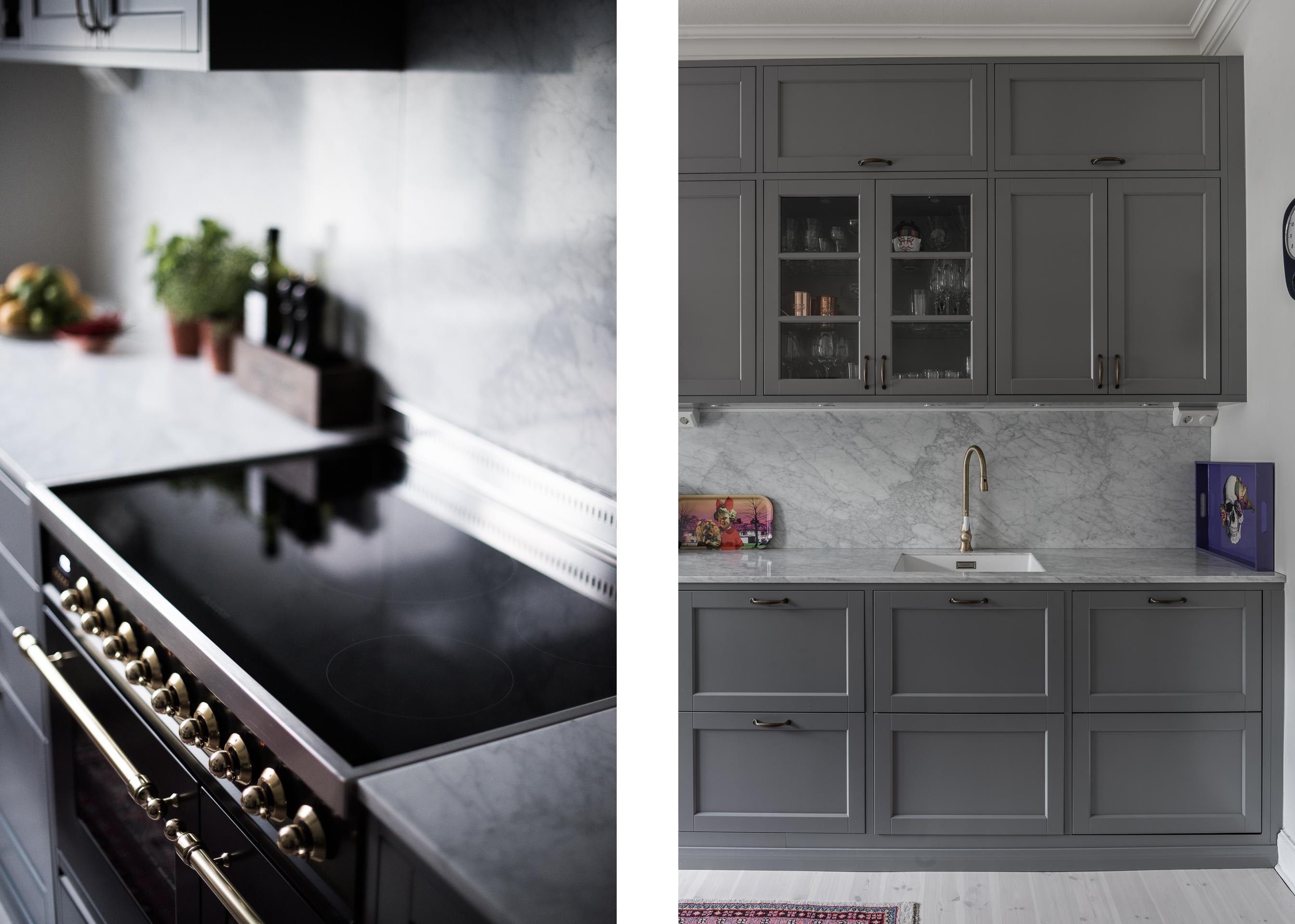кухонная мебель серые фасады мраморная столешница фартук индукционная плита