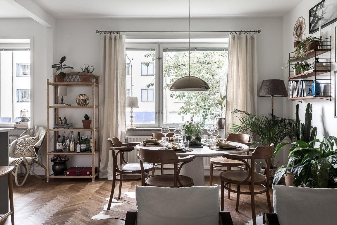 обеденная зона стол окно стеллаж комнатные растения