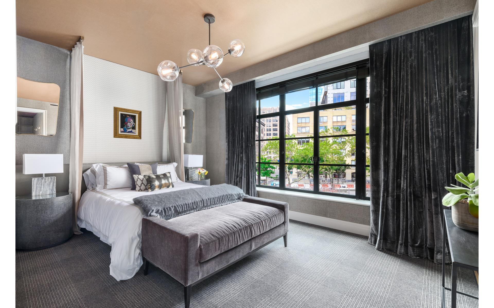 спальня кровать изножье кушетка шторы лампа bubble