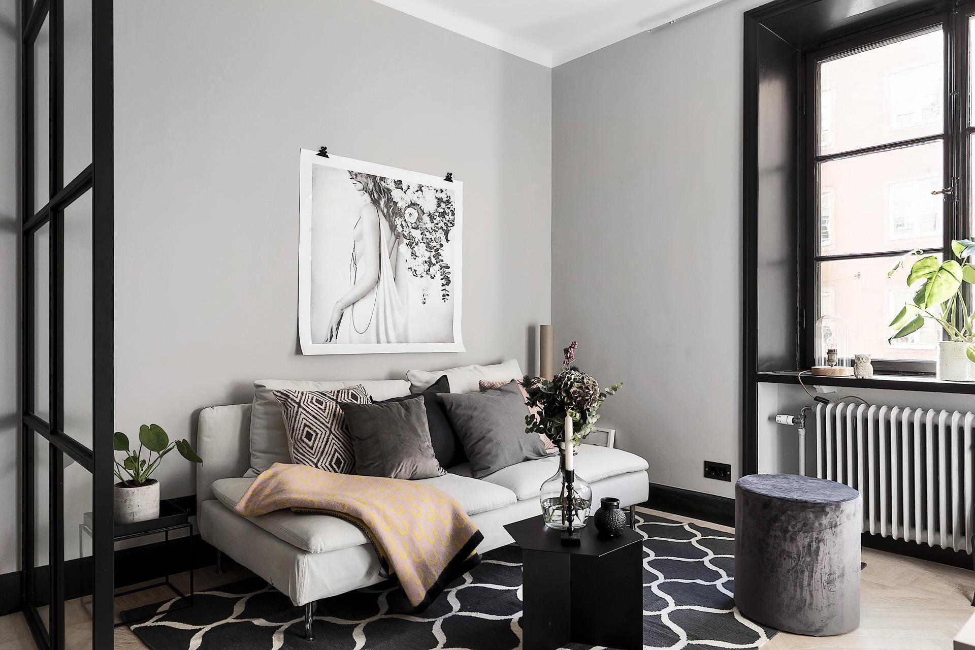 квартира студия серые стены диван кровать подушки ковер столик