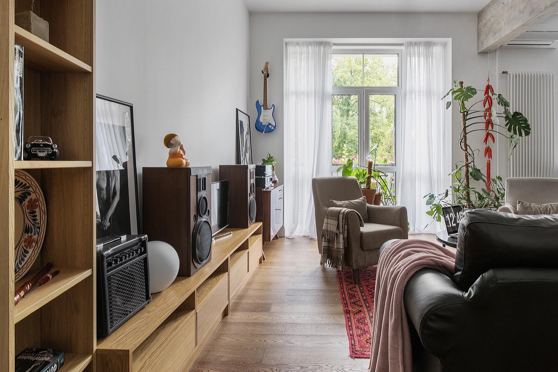 гостиная стеллаж телевизор акустика