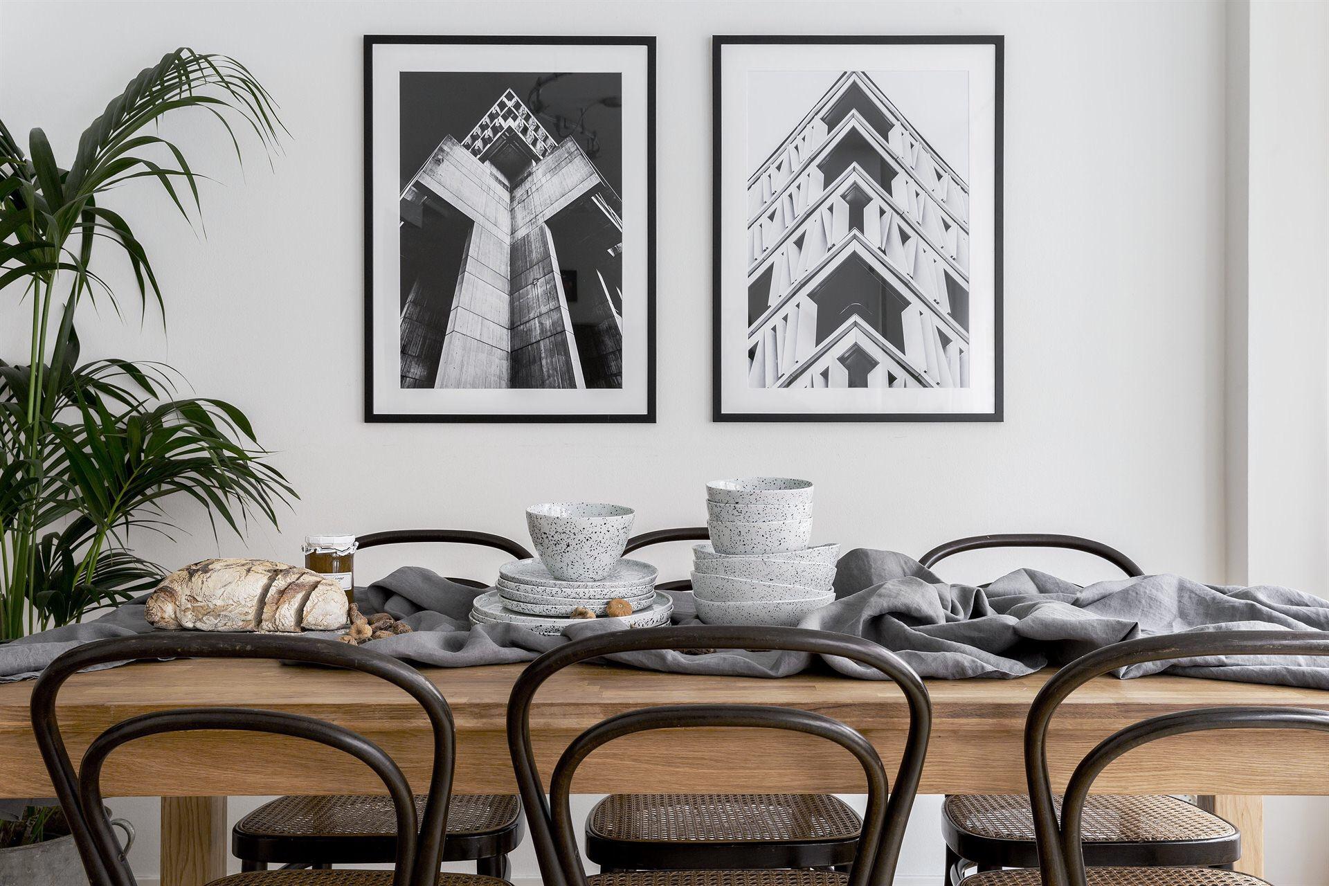 обеденный деревянный стол венские стулья посуда