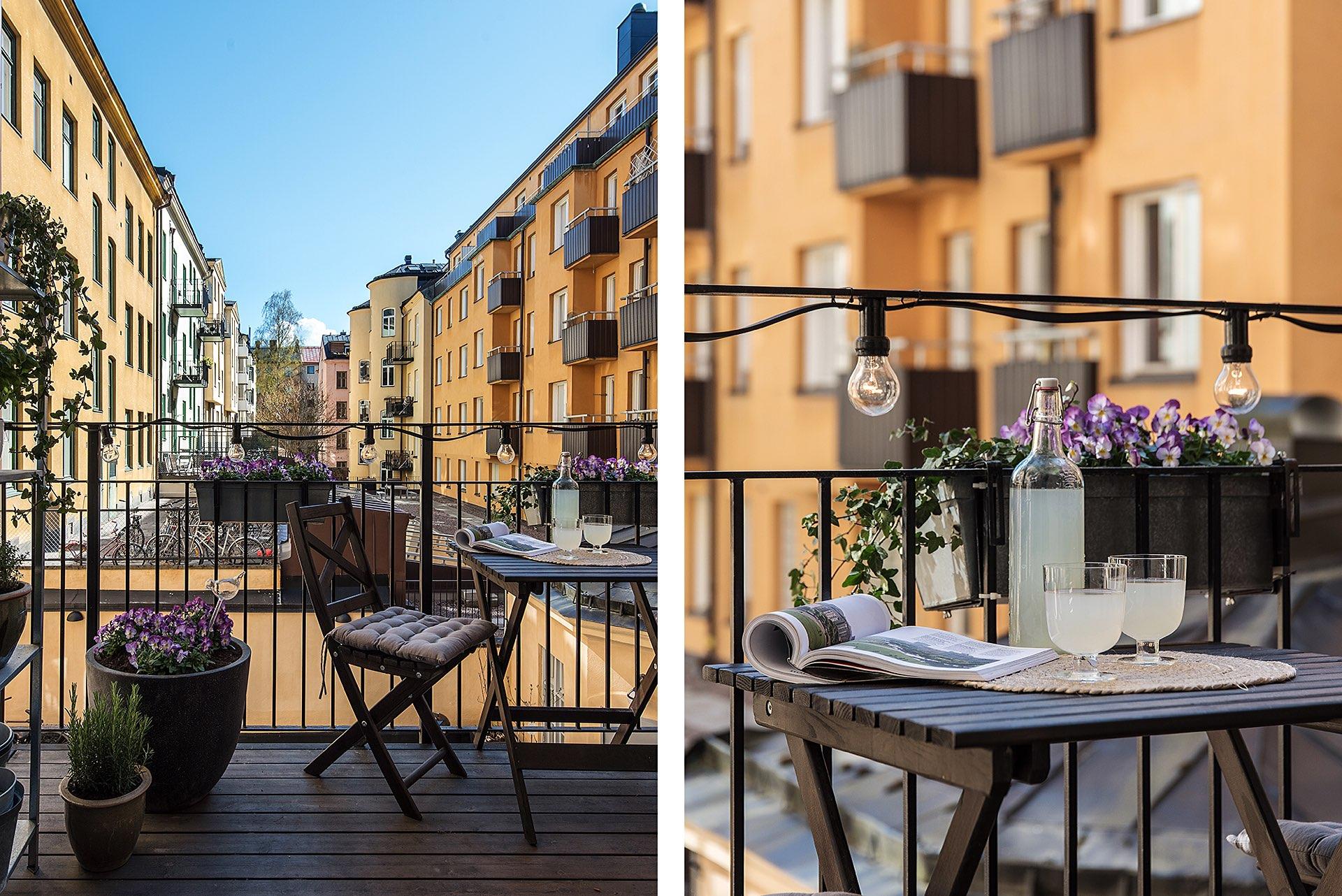 балкон подсветка гирлянда цветы уличная мебель