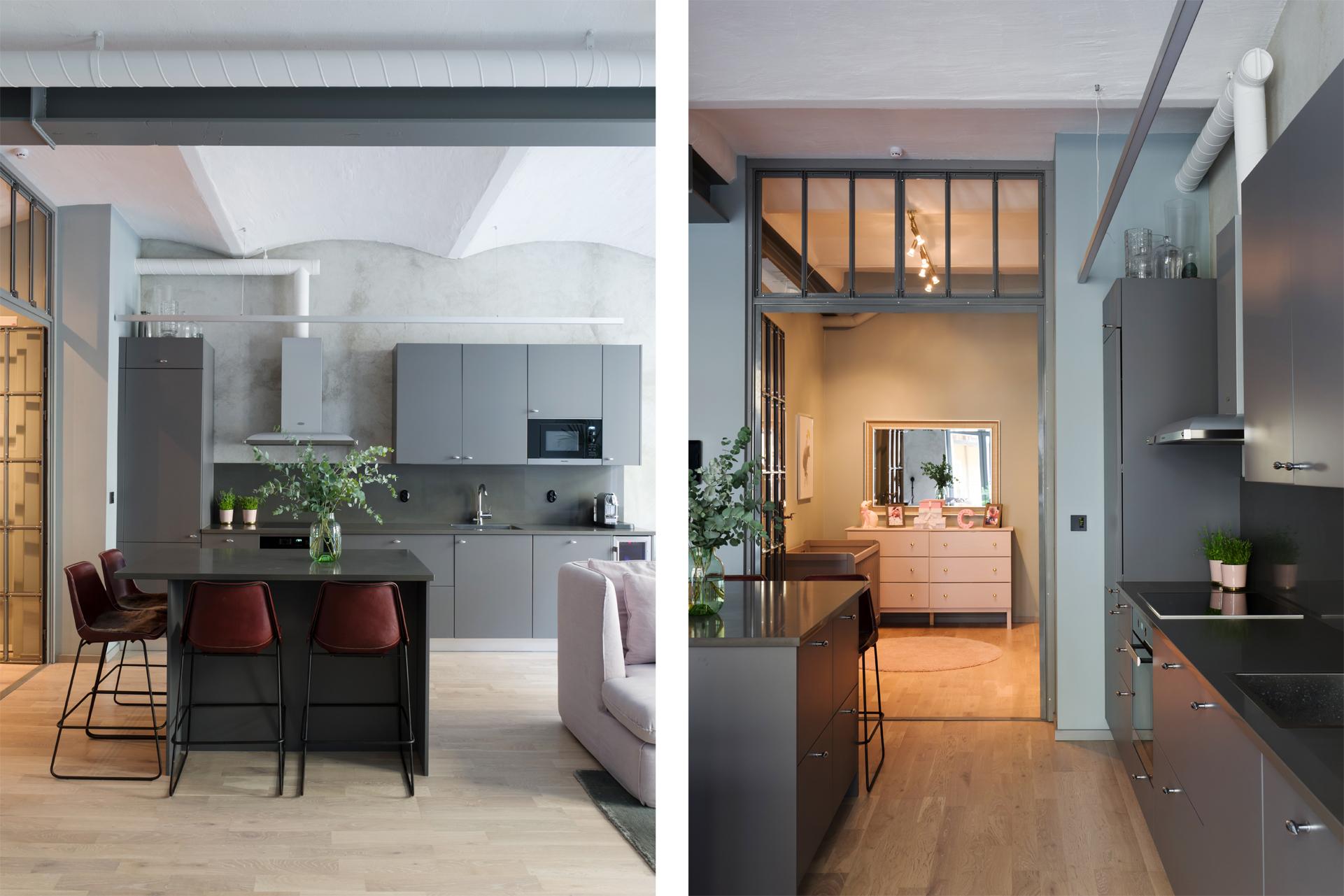 кухня серые гладкие фасады светлый пол перегородка