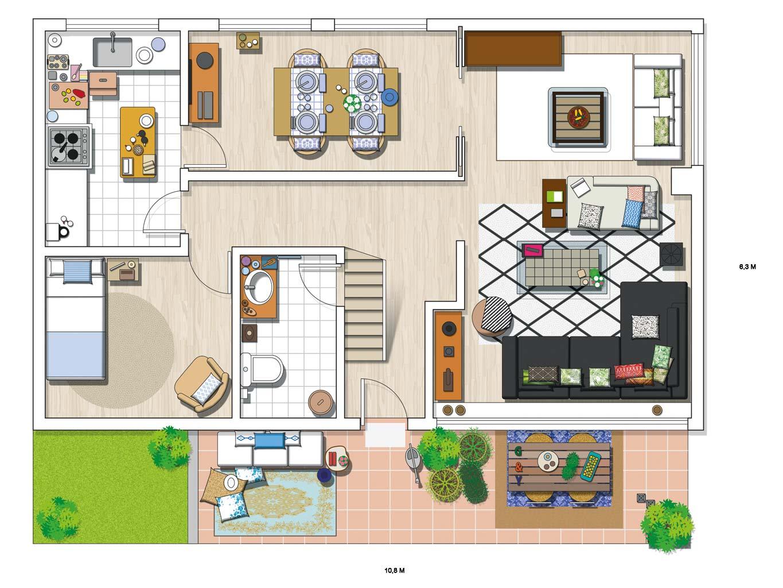 планировка загородного дома терраса
