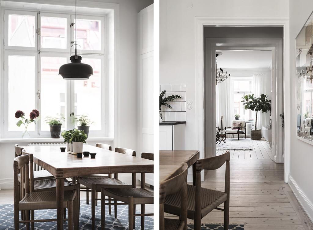 коридор кухня обеденный стол стулья деревянный пол ковер