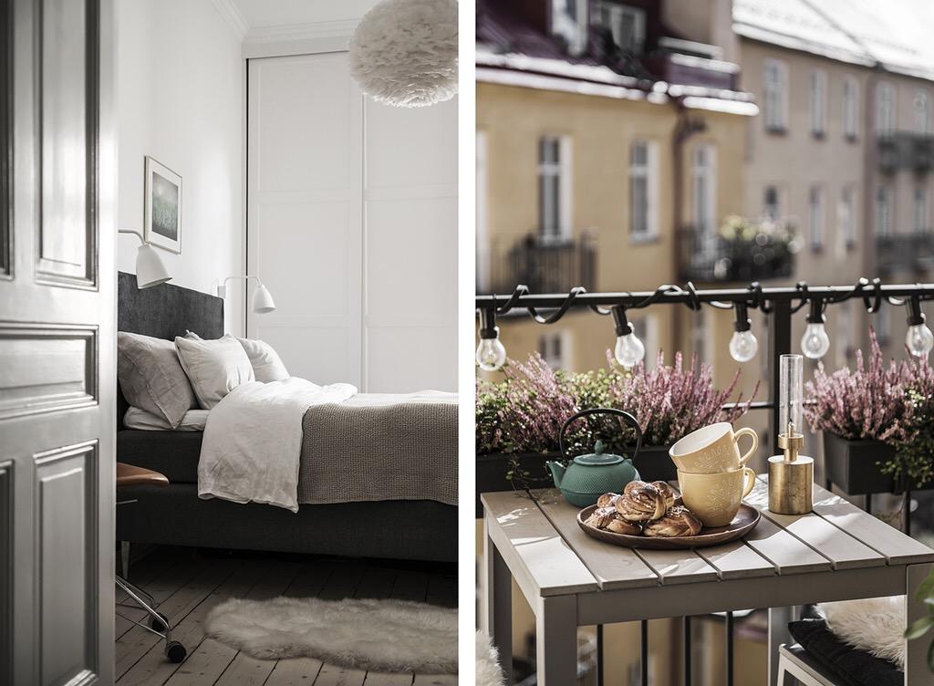 дверь спальня кровать балкон подсветка гирлянда
