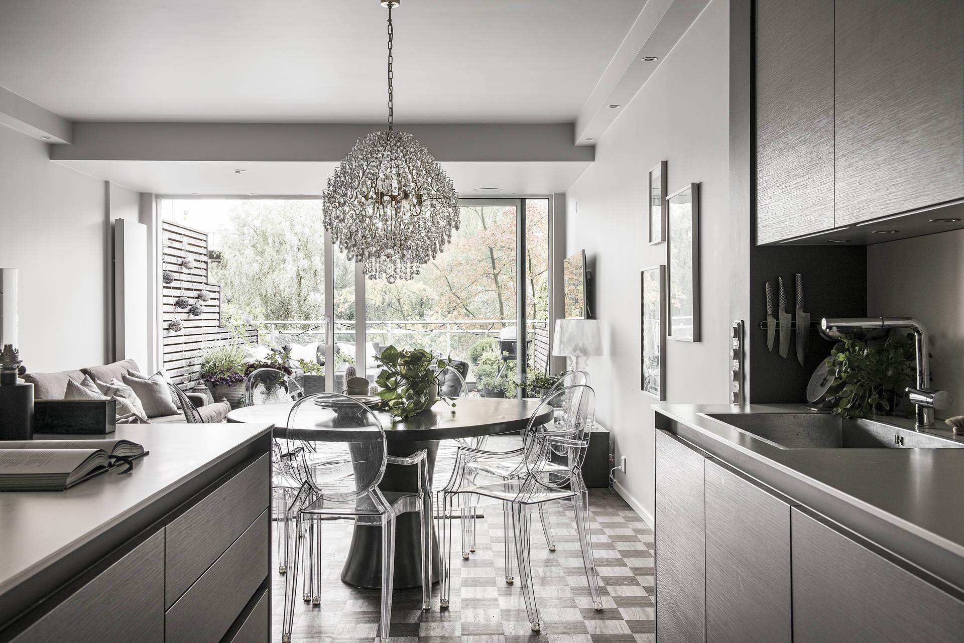 кухня гостиная стол пластиковые стулья