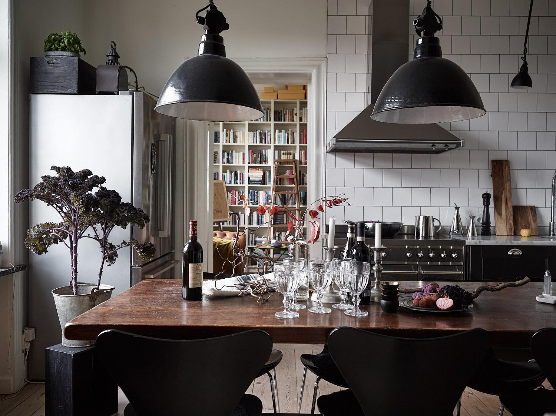 кухня мебель стол посуда подвесные лампы