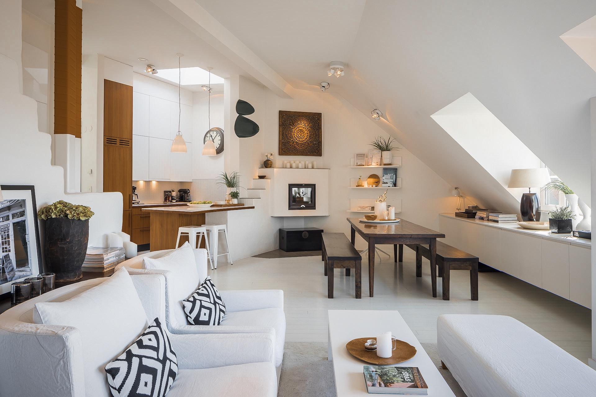 мансарда гостиная кухня столовая