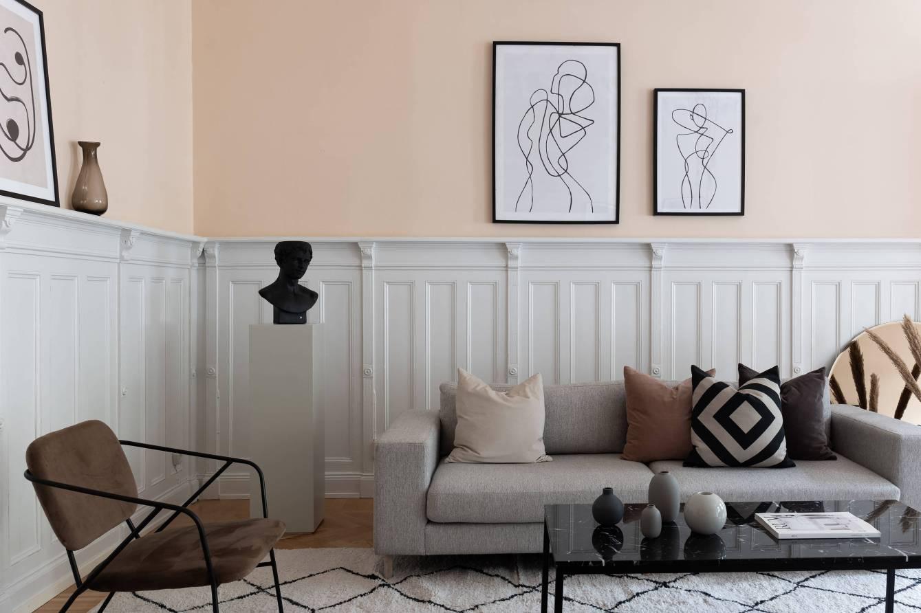 гостиная стеновые панели диван декор